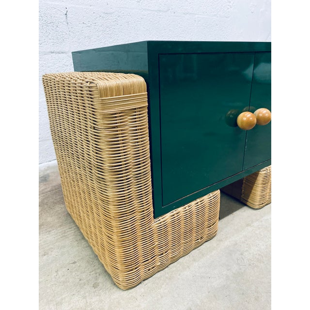 Green Mid Century Modern Rattan Nightstands, 1970s - a Pair For Sale - Image 8 of 12