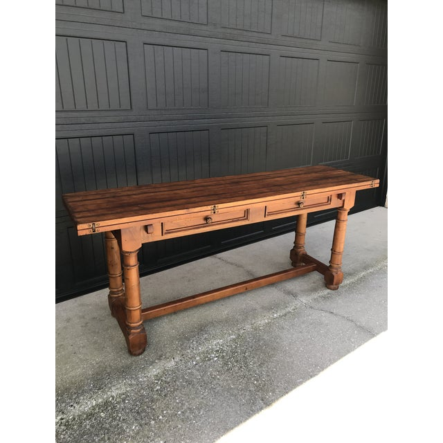 Century French Country Drop Leaf Dining Console Table For Sale - Image 13 of 13