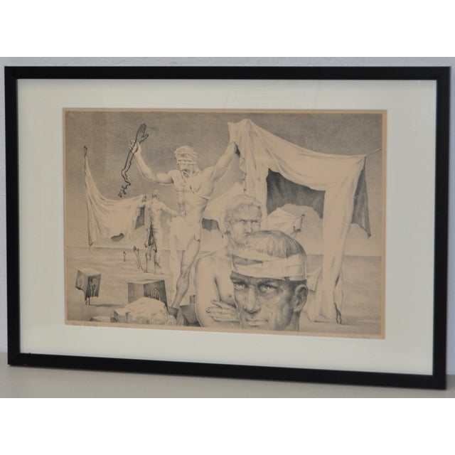 Traditional John B. Lear Surreal Male Lithograph C.1940s For Sale - Image 3 of 8