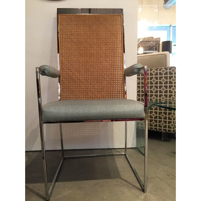 Mid Century Modern S/ 8 Milo Baughman Newly Upholstered Chrome & Cane Back Dining Chairs - Image 4 of 10