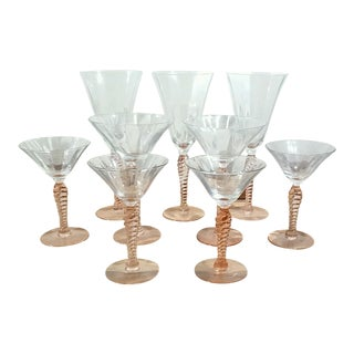 Pink Depression Twisted Stem Wine Glasses - Set of 9