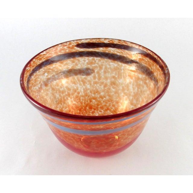 Hand Blown Mottled Orange Art Glass Bowl For Sale - Image 4 of 10
