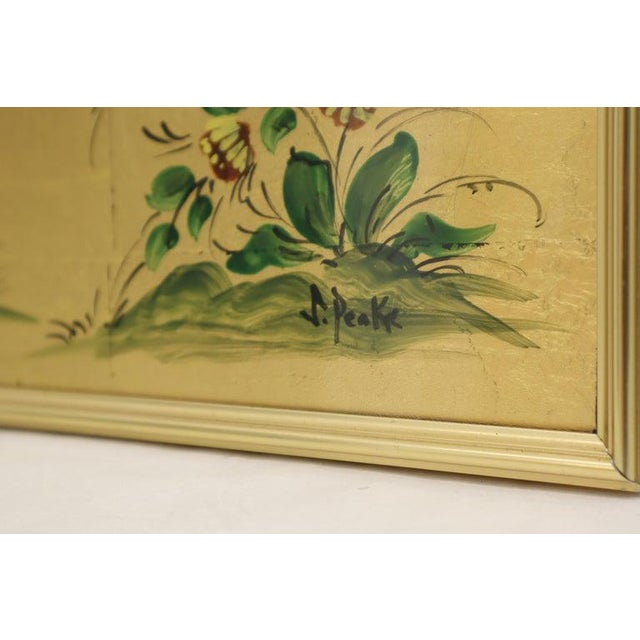 Mid-Century Modern Reverse Painted Gold Leaf Rectangular Frame Decorative Mirro For Sale - Image 3 of 13
