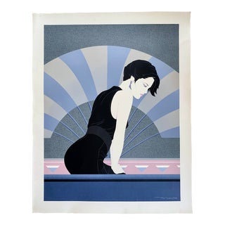 1980s Carlos Sanchez Art Deco Revival Style Figurative Serigraph in the Style of Patrick Nagel For Sale