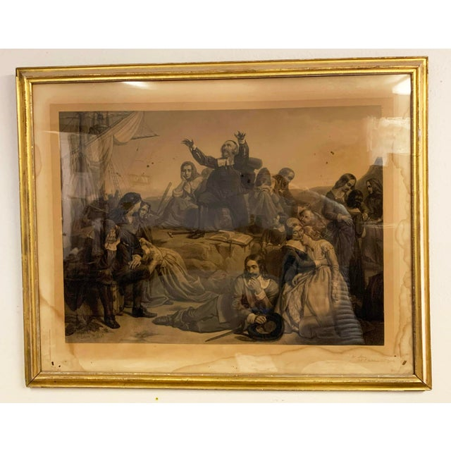 Antique French Lithograph in Gold Leaf Frame For Sale - Image 4 of 13