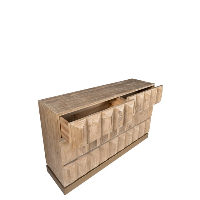 Boho Chic Lorenzo Elm Wood Console With Drawers For Sale - Image 3 of 8