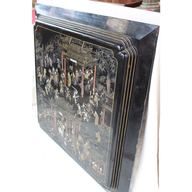 Large Vintage Chinese Black Lacquer Wall Panel - Image 7 of 9