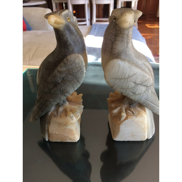 Carved Alabaster Eagle Bookends - A Pair - Image 10 of 10