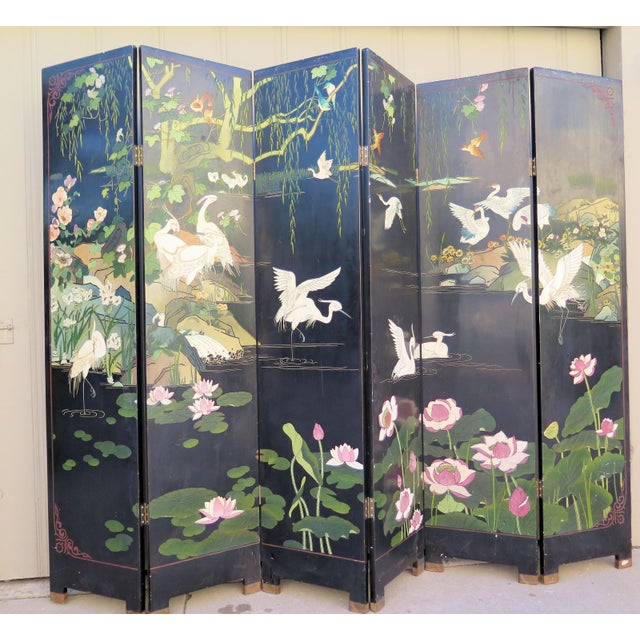 Green 1940's Monumental 6-Panel Japanese Screen For Sale - Image 8 of 8