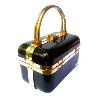 Sleek Italian Ebony Lucite Handbag by Baulotto C 1970s For Sale