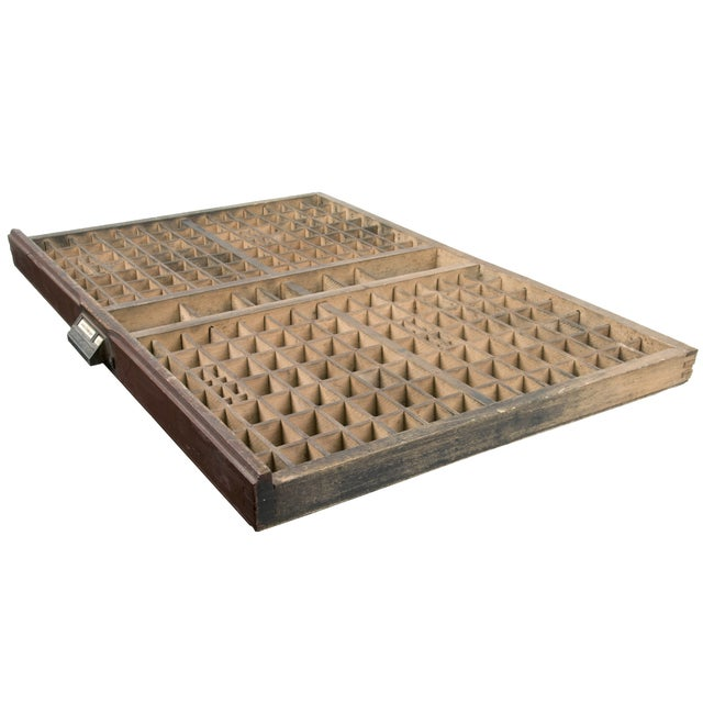 Vintage French Wood Printer's Type Tray - Image 4 of 5
