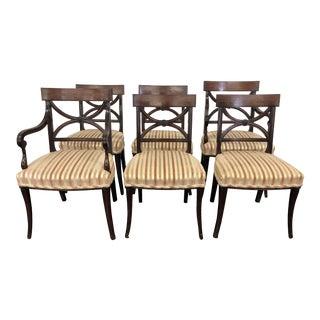 20th Century Mahogany Inlaid Brass Klismos Chairs- Set of 6 For Sale
