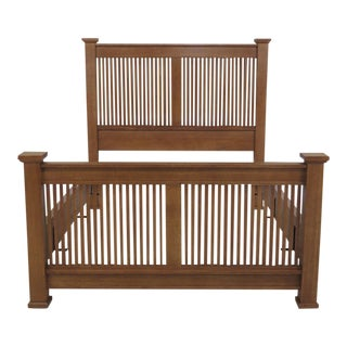Stickley Queen Size High Back Spindle Bed For Sale