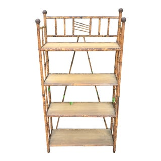 Antique Tiger Bamboo Four Shelf Standing Rack For Sale
