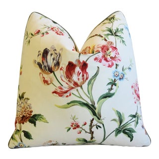 "Brunschwig & Fils Floral Botanical Tulips Feather/Down Pillow 21"" Square For Sale"