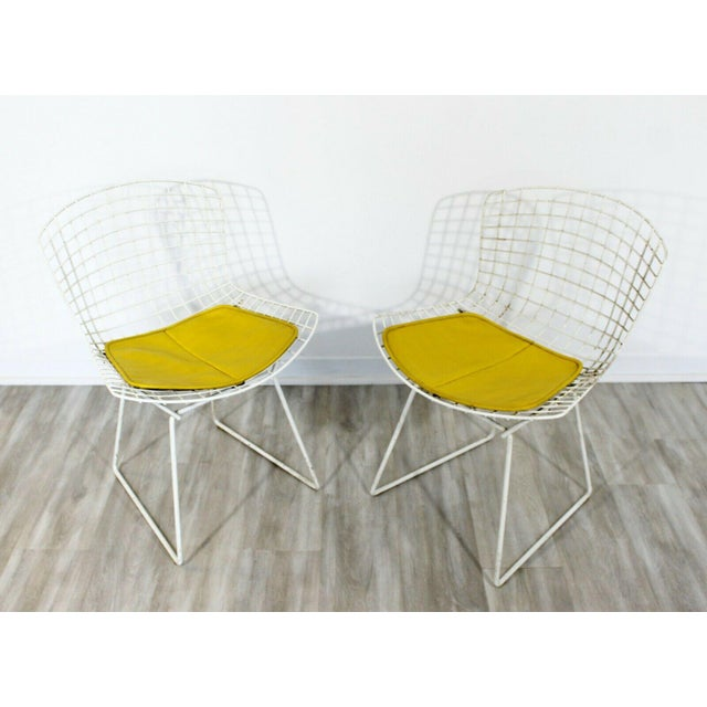 White Contemporary Modern Harry Bertoia for Knoll Set 5 Side Dining Chairs 1980 Yellow For Sale - Image 8 of 11