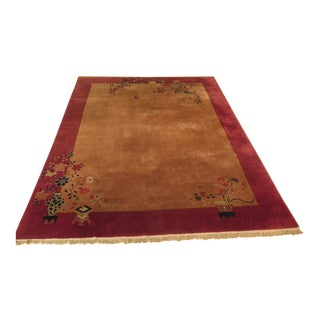 Antique Chinese Purple Border Wool Rug - 9′ × 11′6″ For Sale