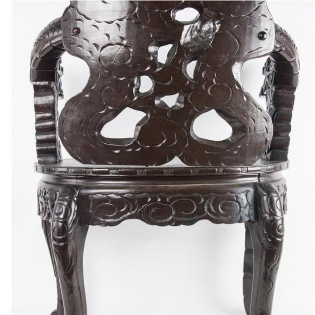 Chinese Carved Rosewood Armchair - Image 7 of 8