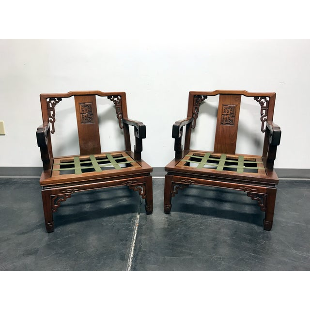 Wood Asian Korean Carved Mahogany Lounge Chairs - Pair For Sale - Image 7 of 11