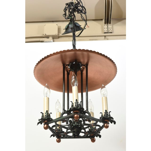 Traditional Copper and Verdigris Five Light Open Lantern For Sale - Image 3 of 5