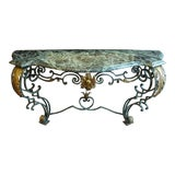 Image of Scrolled Iron Marble Top Console Table For Sale