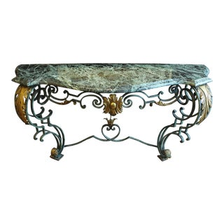 Scrolled Iron Marble Top Console Table For Sale