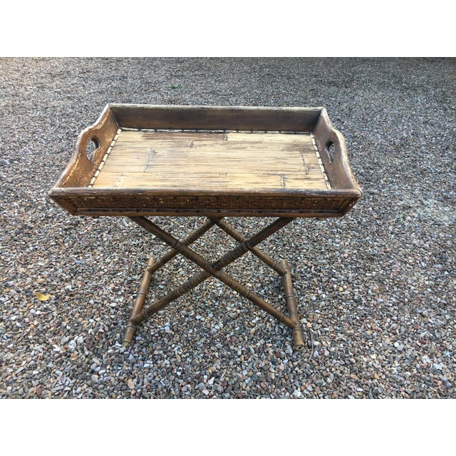 1950s Boho Chic Tray Table With Folding Base For Sale - Image 10 of 10