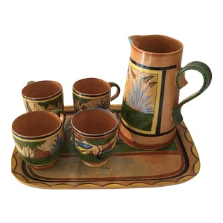 1930s Vintage Mexican Tea Set Coffee / Hot Chocolate Set, Tlaquepaque - Set of 6 For Sale