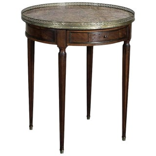 End Table, 19th Century French Louis XVI Bouillotte Marble Top Gueridon For Sale
