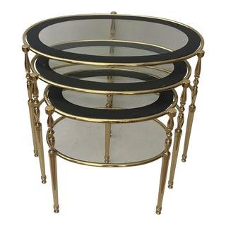 Hollywood Regency Set of 3 Brass Oval Nesting Tables For Sale