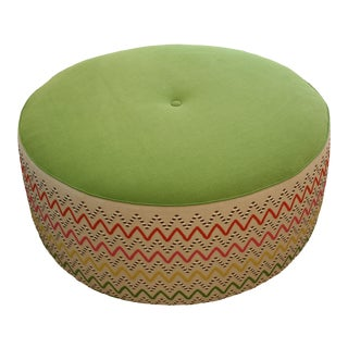 Colorful Zig-Zag Fabric Round Ottoman For Sale