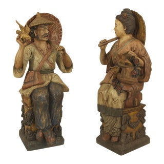 Pair of Asian Chinese Style Decorated Terra-Cotta Life Size Seated Figures For Sale