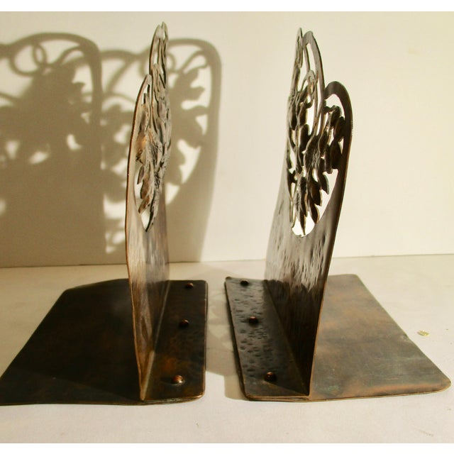 Early 20th Century Arts and Crafts Pierced Copper Bookends - a Pair For Sale - Image 5 of 6