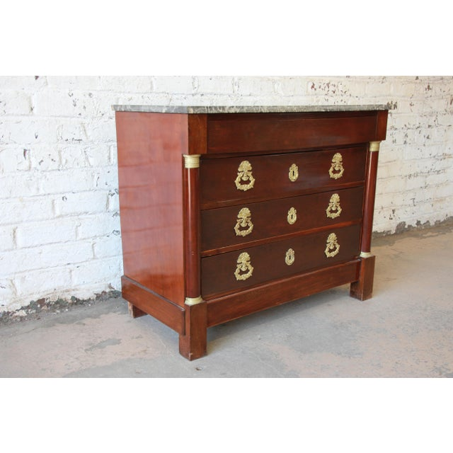 French Empire Mahogany Marble Top Commode Chest of Drawers, Circa 1850 For Sale - Image 4 of 13