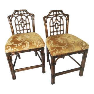 McGuire Style Rattan Pagoda Chinoiserie Counter Bar Stools For Sale