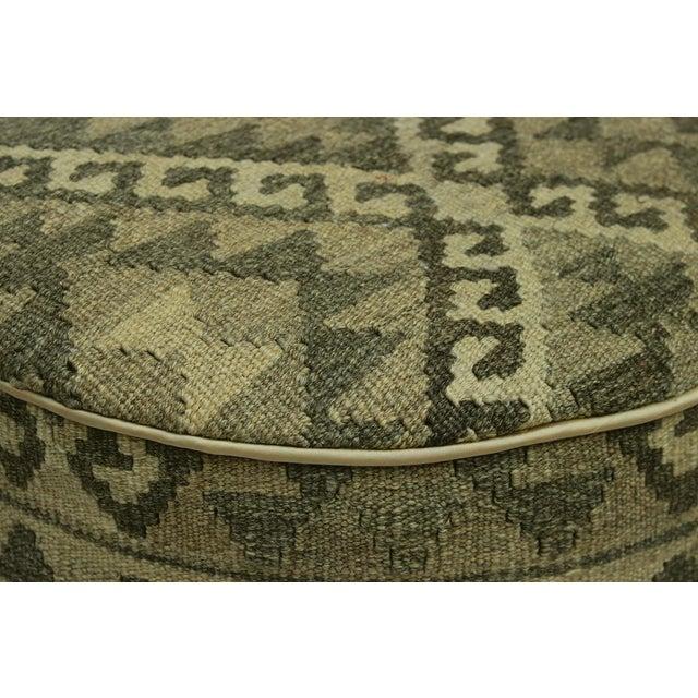 2010s Arshs Deana Lt. Gray/Drk. Gray Kilim Upholstered Handmade Ottoman For Sale - Image 5 of 8