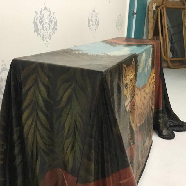 1980s Realism Draped Leopard Painting Console Table For Sale In West Palm - Image 6 of 11