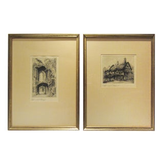 Traditional Signed Edward J. Cherry Etchings in Gilt Frames of Kenilworth Castle & Anne Hathaway's Cottage - a Pair For Sale