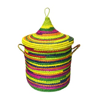 "Colorful Basket W/ Lid Senegal West Africa 21""h by 15"" D For Sale"