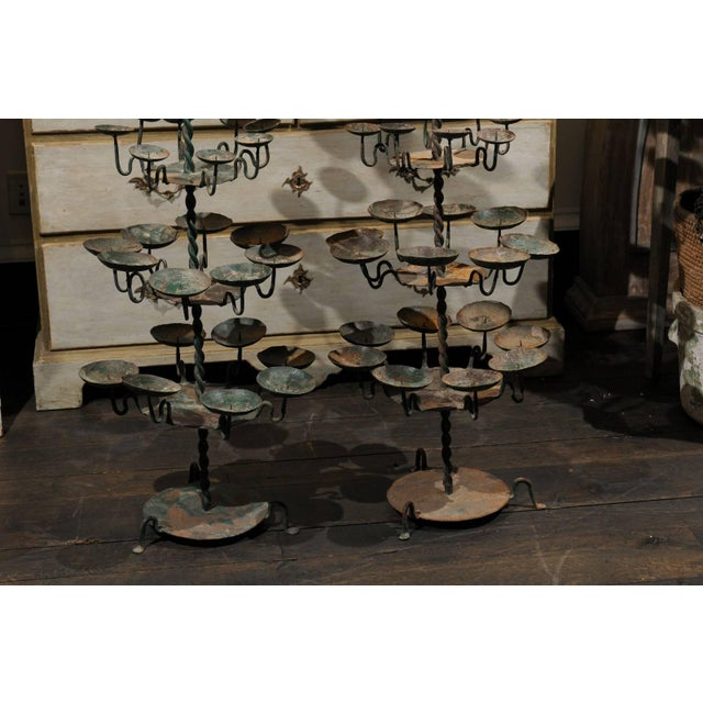 19th Century Spanish Iron Candle Trees With Green Color - a Pair For Sale In Atlanta - Image 6 of 8