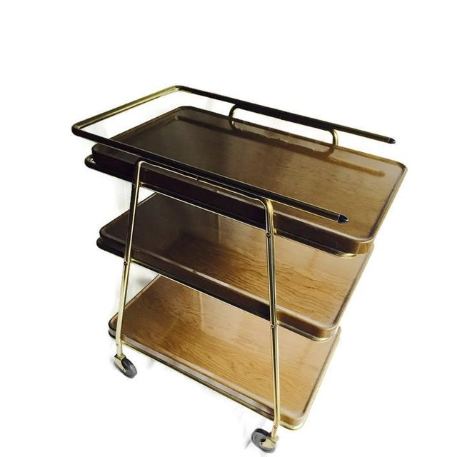 Mid-Century Atomic Age Three-Tiered Bar Cart - Image 3 of 9