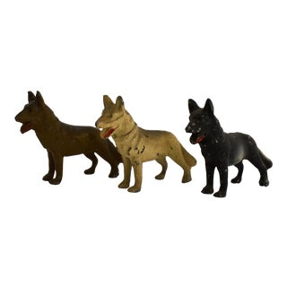Vintage 40s Cast Metal Dogs, 1940s German Shepard Dog Figurines - Set of 3 For Sale