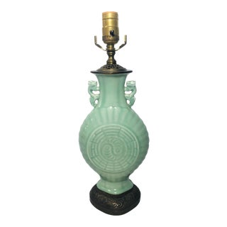 Early 20th Century Antique Chinese Celadon Lamp For Sale