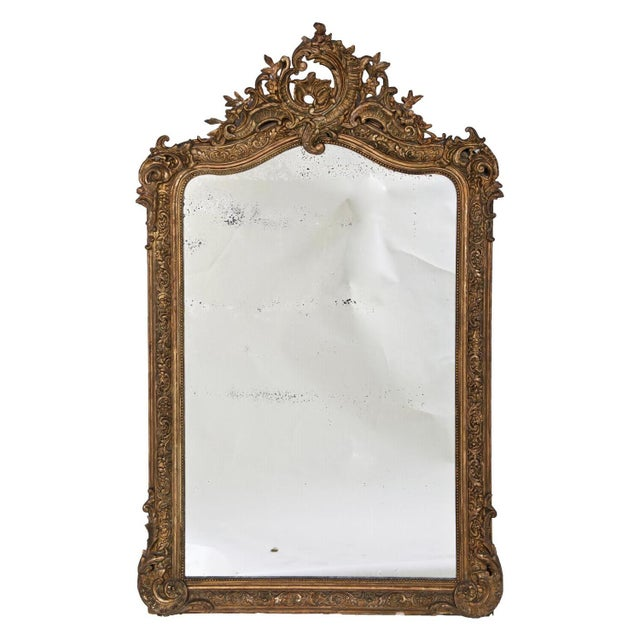 1860 Italian Gilt Wood & Gesso Mirror For Sale In San Francisco - Image 6 of 6