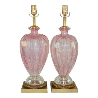 Vintage Murano Glass Lamps Pink For Sale