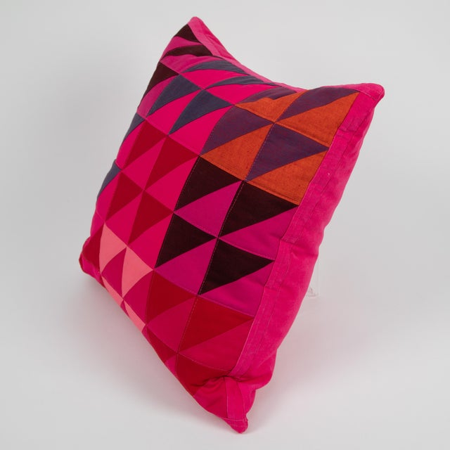 Modern Modern Square Colorful Quilted Pillow For Sale - Image 3 of 5