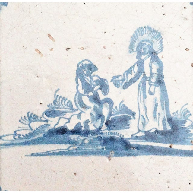Traditional 17th-C Dutch Delft Biblical Tile For Sale - Image 3 of 5