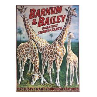 1978 Vintage Giraffes - Barnum & Bailey Greatest Show on Earth Poster For Sale