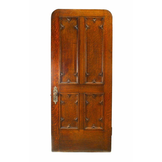 19th Century 19th Century English Gothic Revival Paneled Oak Door For Sale - Image 5 of 5