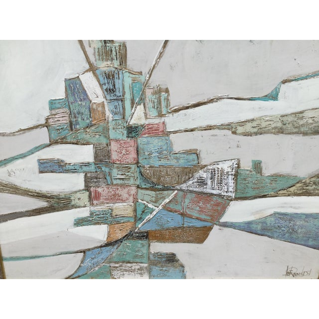 Abstract 1960s Vintage Lee Reynolds Geometric Abstract Painting For Sale - Image 3 of 7